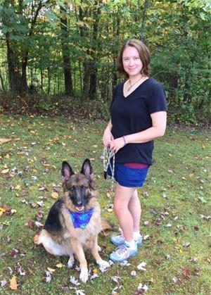 lauren tipton with german shepherd dog in boone north carolina